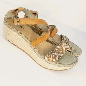 Eddie Bauer Kara Espadrilles Wedges Cognac Leather